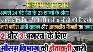 सम्पूर्ण भारत का 2 और 3 अगस्त, 2021 का मौसम पूर्वानुमान