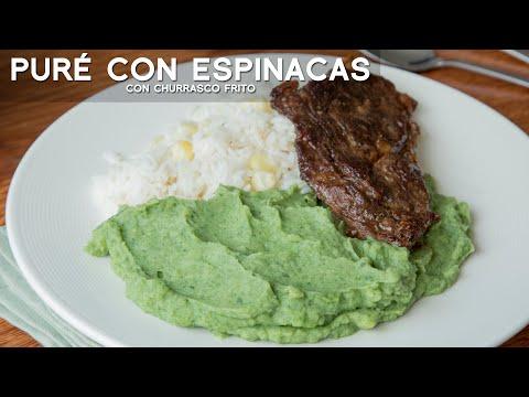 COMO PREPARAR PURÉ CON ESPINACA (PURÉ VERDE) CON CHURRASCO FRITO   ACOMER.PE   COMIDA PERUANA