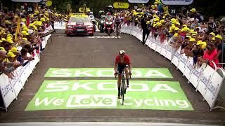 Giulio Ciccone celebrates his Tour de France yellow jersey
