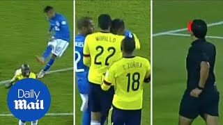 Neymar red card shame after attacking two Colombia players - Daily Mail