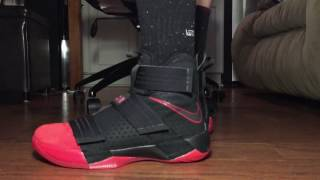 Lebron Soldier 10 Red Toe on foot!
