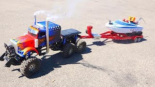 6x6x6 OPTiMUS Semi Truck Launches RC Fishing Jet Boat  | RC ADVENTURES