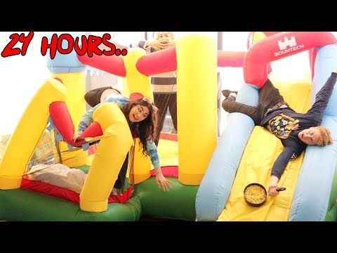 24 HOURS INSIDE A BOUNCY HOUSE CHALLENGE! - YouTube