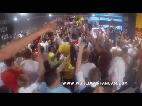 England fans celebrate in Belo Horizonte after Costa Rica match - World Cup 2014 Brazil