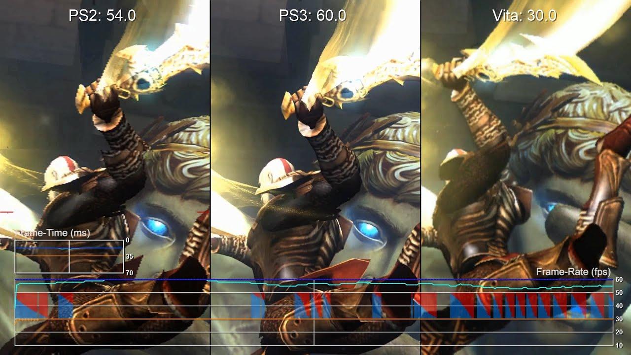 God Of War 2 Ps Vita Vs Ps3 Vs Ps2 Frame Rate Test