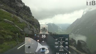 Descending Trollstigen with Model X and trailer