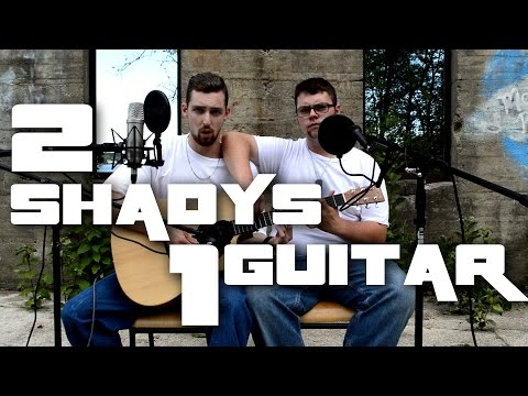 2 guys on one guitar do a cover of Eminem's ''The Real Slim Shady'' in 1 take