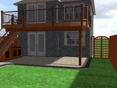 Patio With Bar Under Deck Stairs