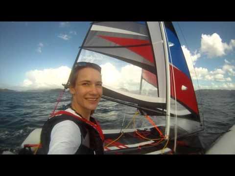 unedited - Laura Dekker sailing MiniCat 420 in The Bay of Islands, New Zealand 060416