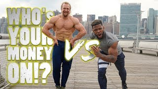 check out an athlete sprinting against a bodybuilder. who wins? Twi...