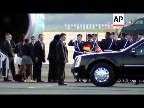 US President Obama arrives in Germany after G8 summit