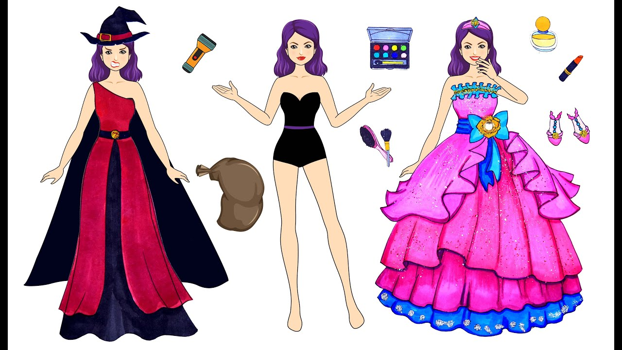 [DIY] Paper Dolls Witch Dress up! The Most Sparkling & Beautiful Dresses Handmade Papercrafts