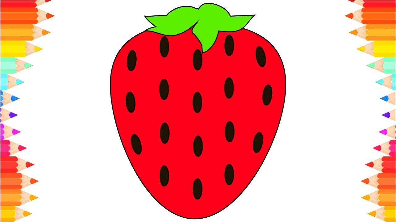 how to draw fruits and berries strawberry step by step