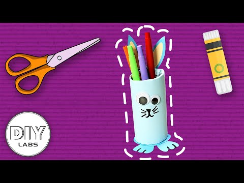 How to make a BUNNY PENCIL CASE | Paper Roll Craft | Fast-n-Easy | DIY Arts & Crafts for Parents