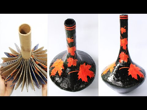 How to make Flower Vase with cardboard | Home decorating ideas