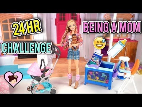 Barbie Doll Being a  MOM for 24 HOURS Challenge