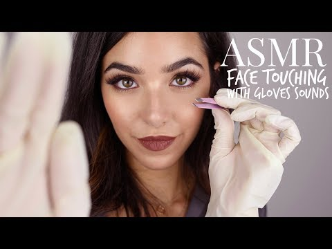 ASMR Personal Attention: Face Touching with Gloves + Tweezers (Gloves sounds, tweezers sounds...)