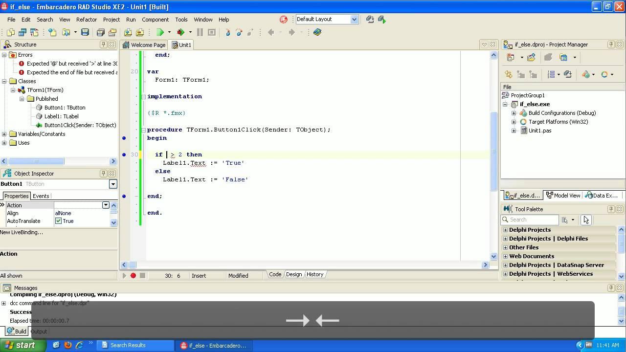 Learning to Program Delphi Tutorial If then else