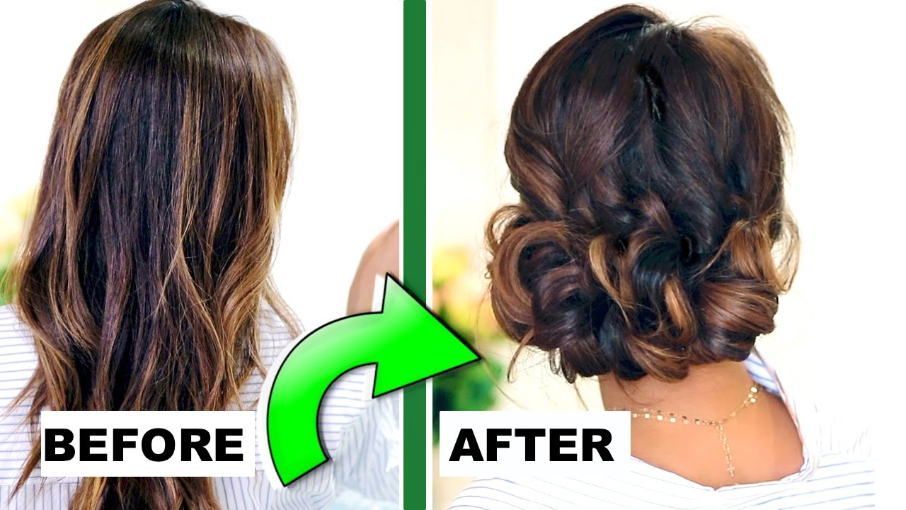 3 Minute Elegant Curly Bun Easy Updo Hairstyles For Everyday Prom Peinados