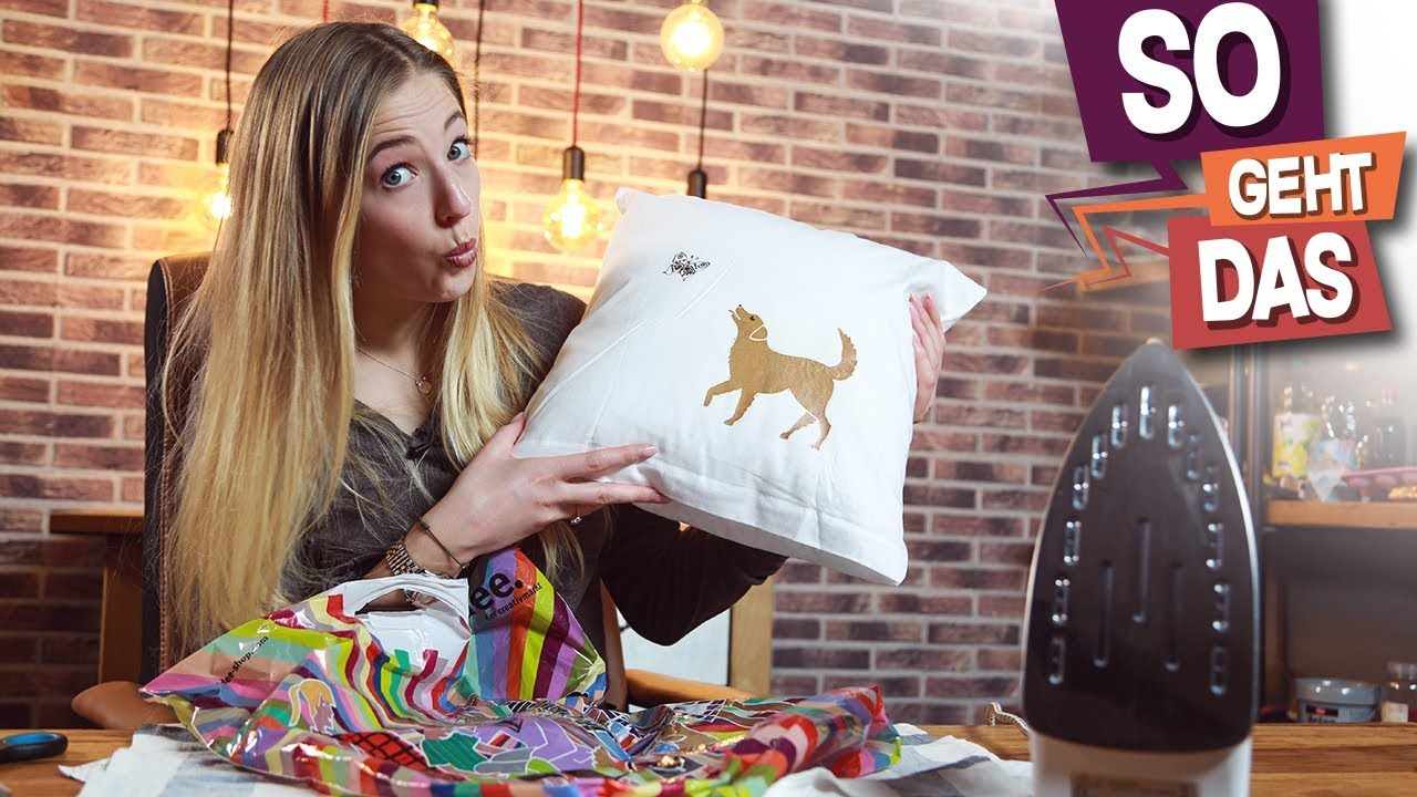 kissen selber bedrucken upcycling lifehack test youtube. Black Bedroom Furniture Sets. Home Design Ideas