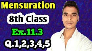 Mensuration: Class 8 maths chapter 11.3- Q.1,Q,2,Q.3,Q.4,Q.5 solutions.