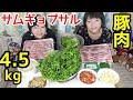 【大食い】豚肉4.5kgでサムギョプサル!!【双子】