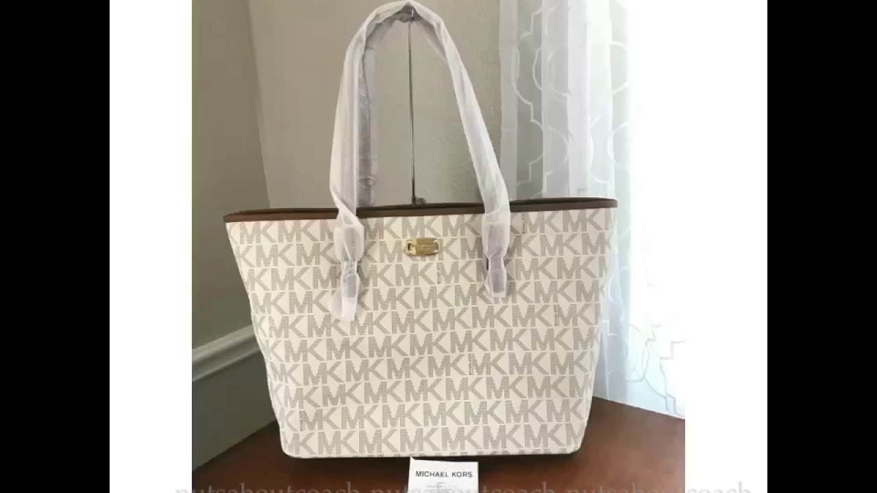 8b9db3c43027 Michael Kors Jet Set Travel Large Carryall Tote -VANILLA - YouTube