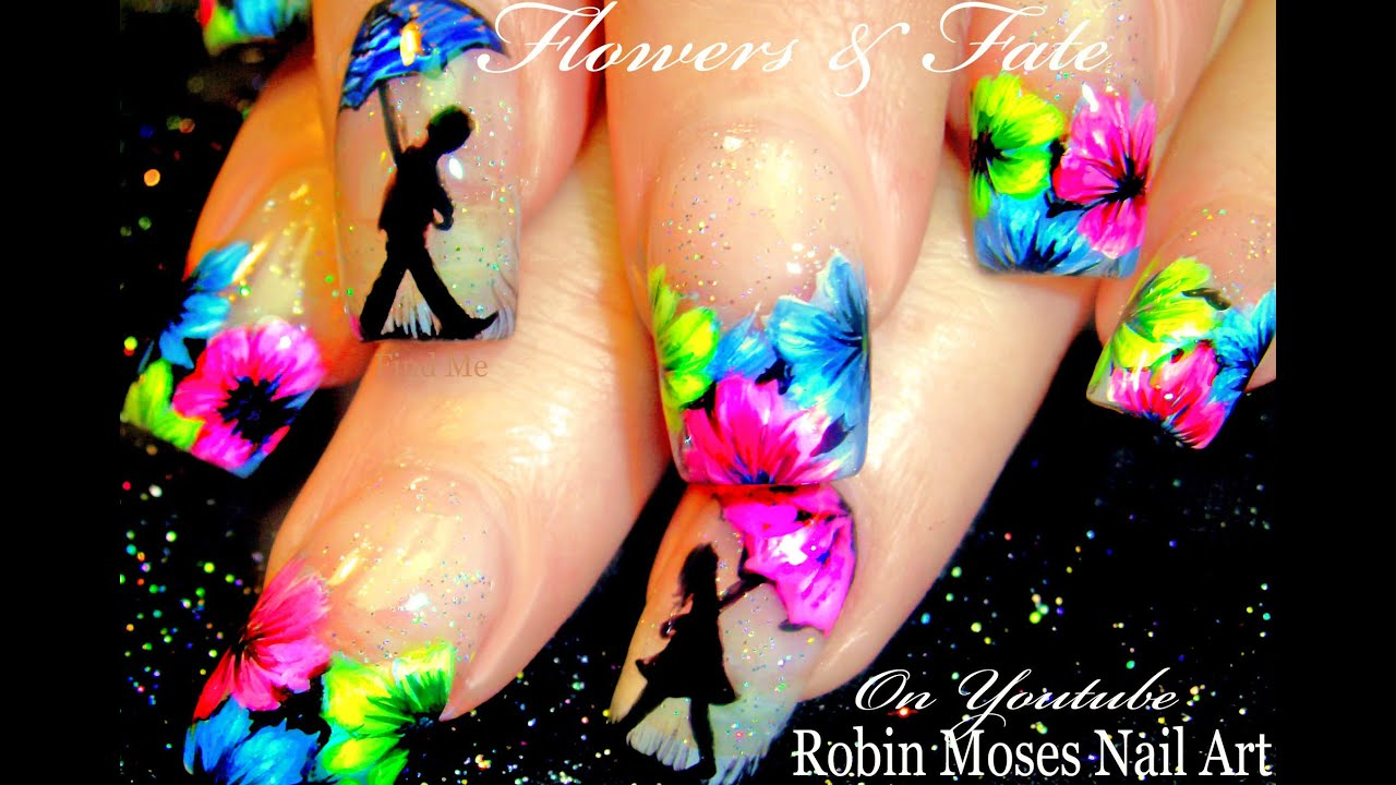 Neon Spring Flower Nails | Umbrella Nail Art Design Tutorial - YouTube
