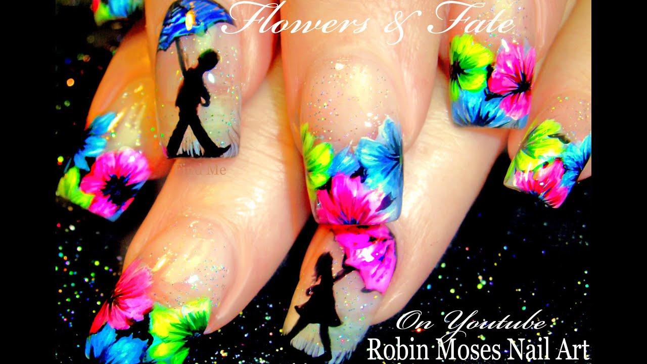 neon spring flower nails umbrella