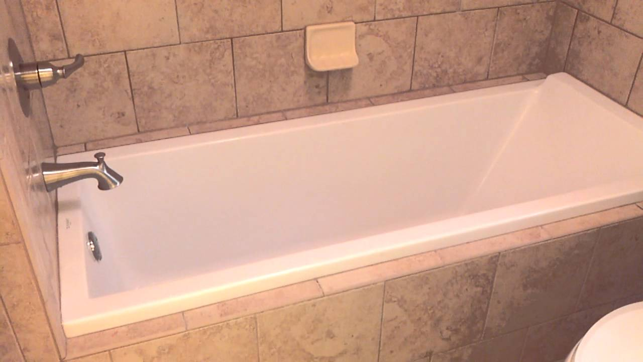 Beautiful European drop-in tub with Italian tile surround ...
