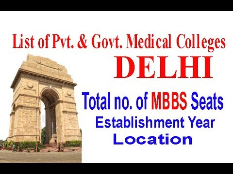 Total No. MBBS Seats in Delhi - Private & Govt. Medical Colleges