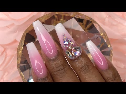 Acrylic Nails Rose Pink and White Ombre with Bling - LongHairPrettyNails