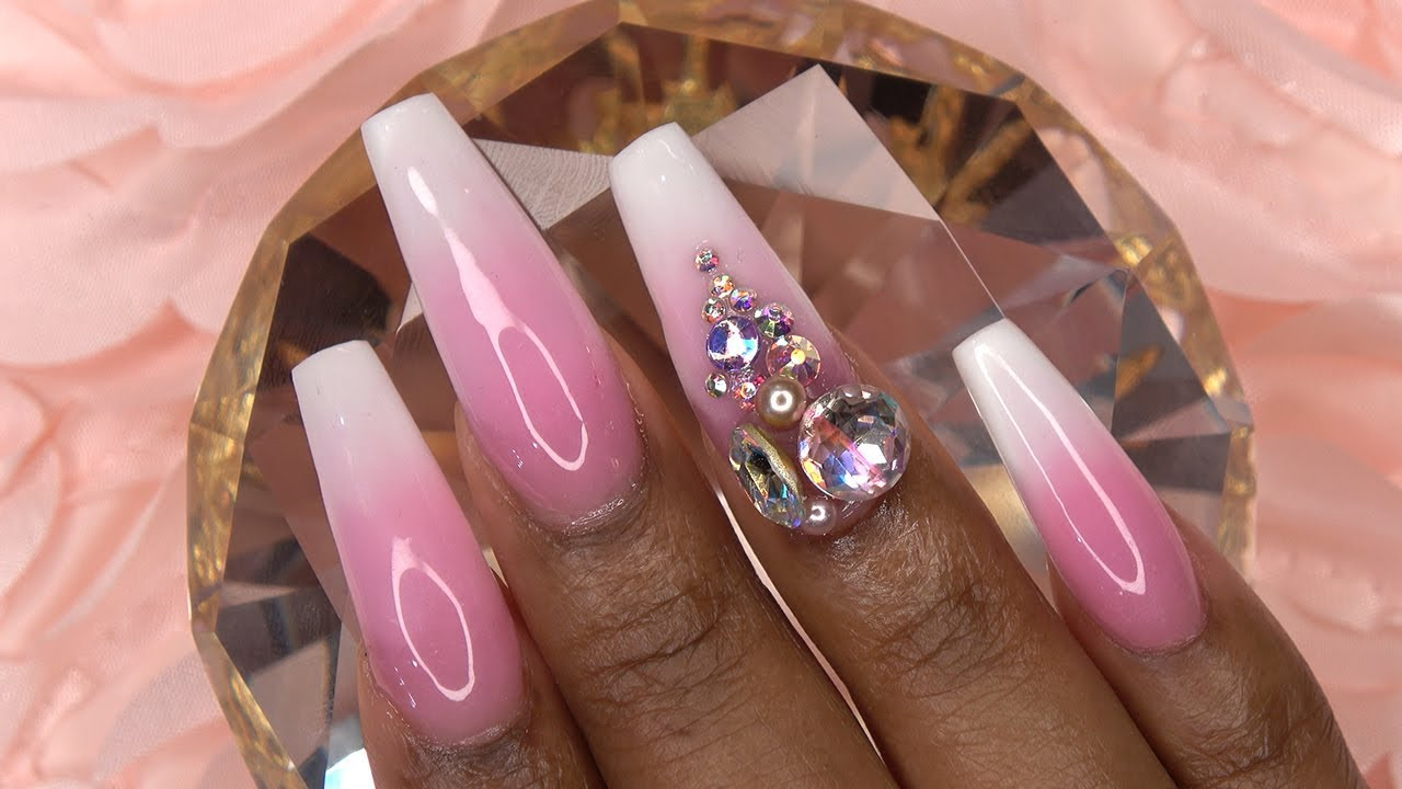 Acrylic Nails Rose Pink and White Ombre with Bling ...