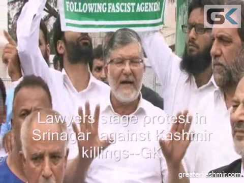 Lawyers stage protest in Srinagar  against Kashmir killings