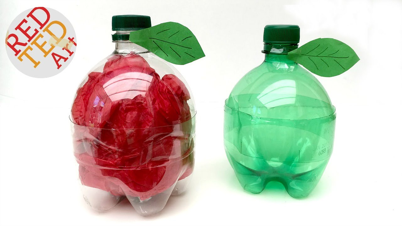 Easy apple gift box as teachers gifts 5minute crafts for Recycled products from plastic bottles