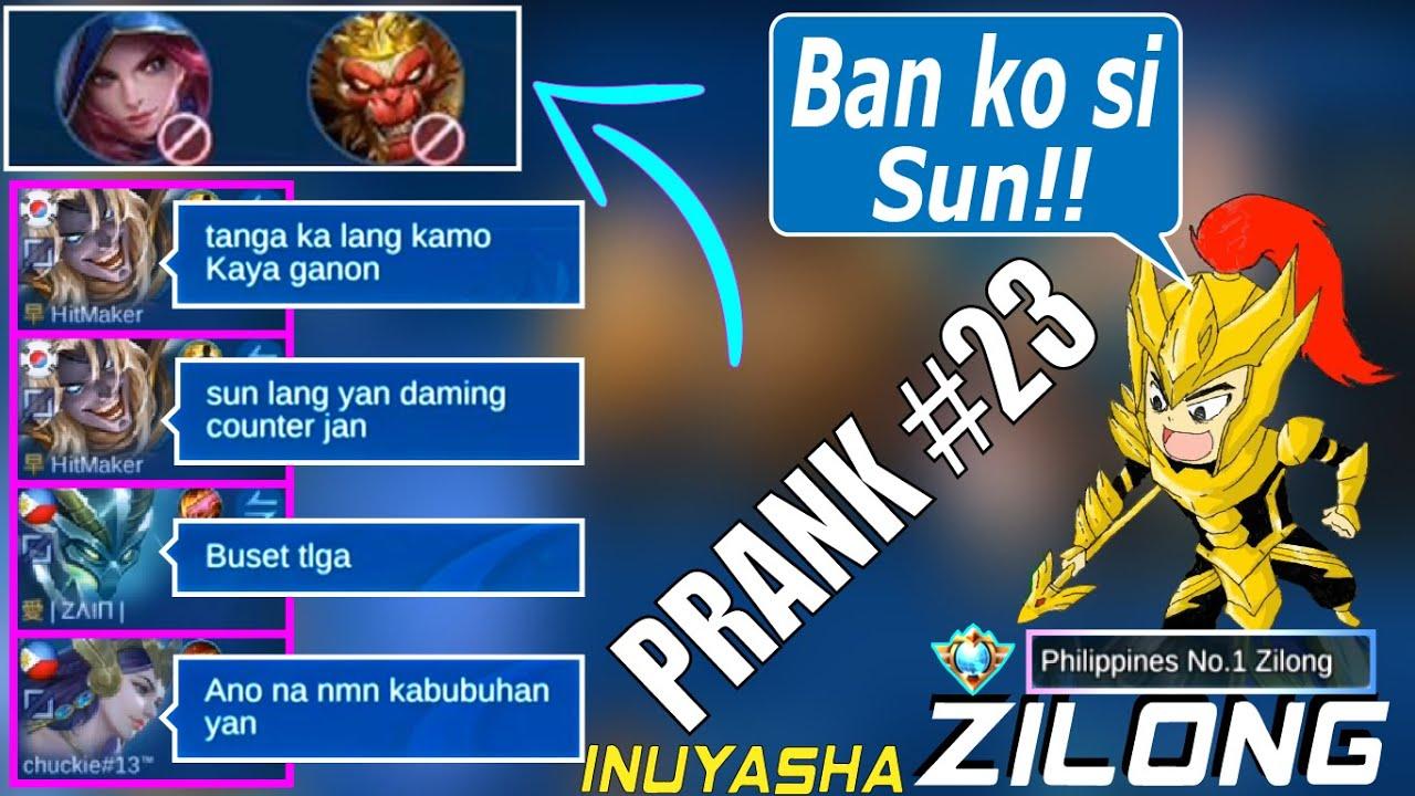 Ban ko si Sun!! | Takot ako kai Sun [PRANK] | Top 1 Philippines Zilong: Inuyasha