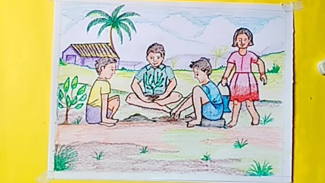 Tree plantation drawing || how to draw tree plantation ...