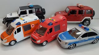 Playing Toy cars Police Cars Fire and Ambulance, Bruder Toys