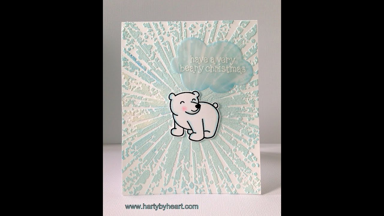 video#27 Christmas card with Polar Bear and DIY coloured embossing ...