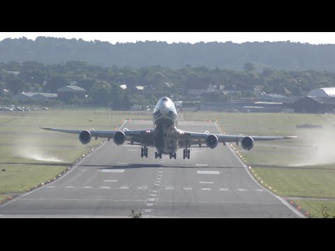 4K video Boeing 747-8F Early morning departure Farnborough airport CargoLogicAir