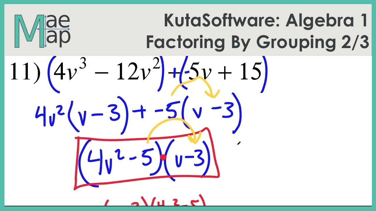 KutaSoftware: Algebra 1- Factoring By Grouping Part 2