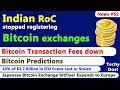 Indian RoC stopped registering Bitcoin exchanges, BTC Transaction Fees down, BTC Predictions