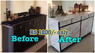 TRANSFORMATION OF OLD FURNITURE IN JUST Rs 1200 WITH WALLPAPERS | LIVING ROOM MAKEOVER PART -1