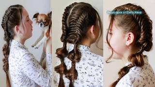Красивые косы  для девочки на каждый день   Летняя причёска  Trenzas  Braids