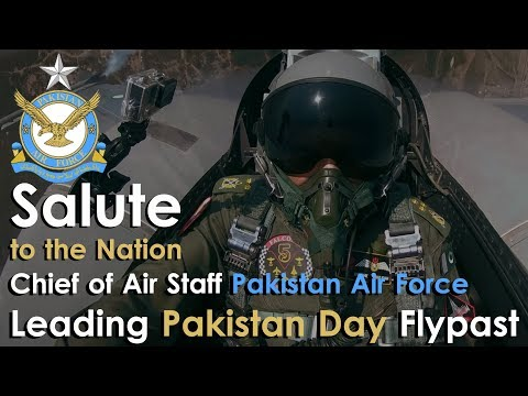 """""""Salute to the Nation""""; Chief of Air Staff PAF leading Pakistan Day Flypast  
