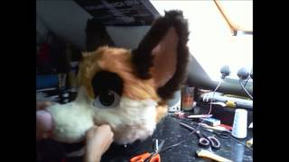 Fursuit Head Tutorial - Time Lapse - Part 5 - Furring 3