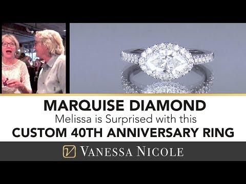 MARQUISE CUT HALO DIAMOND RING | Watch as Melissa Gets Surprised! | Vanessa Nicole Jewels