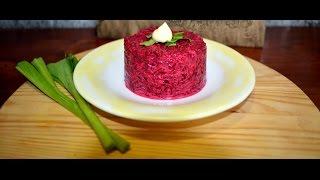 Салат. Свекла с чесноком. Salad. Beet with garlic .