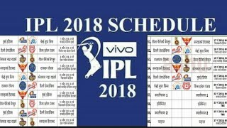 IPL 2018 TEAM SCHEDULE