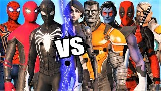 ALL SPIDERMAN SUIT vs X-FORCE - Epic Battle